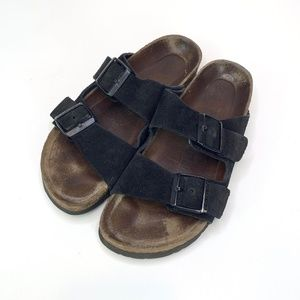 Birkenstock Black Arizona Suede Leather Sandals
